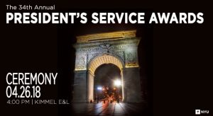 The poster for the 2018 President's Service Awards at NYU