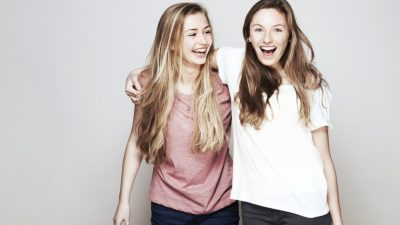 Two girl friends having fun