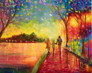 An art piece of people walking.