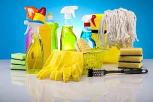 An image of house cleaning products and supplies.