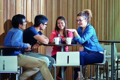 A group of students having some tea