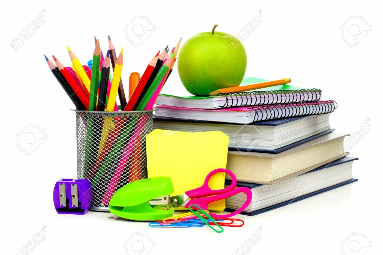 books, pencils, stapler, pair of scissors
