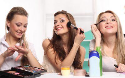 Friends doing their makeup