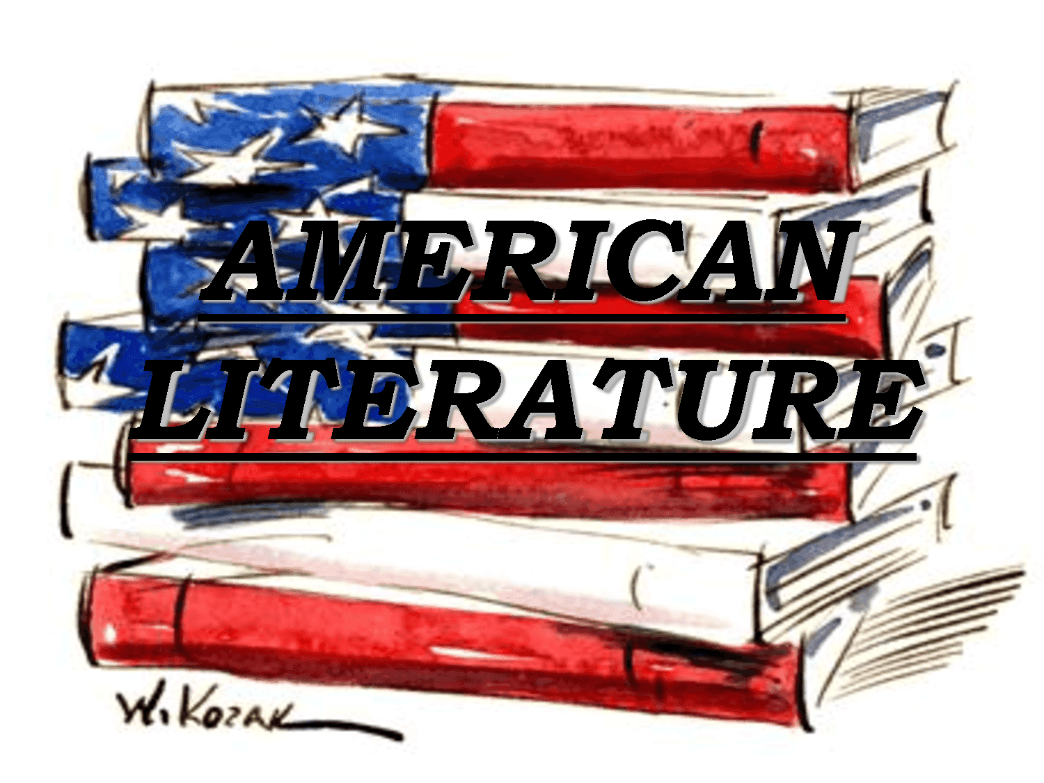 A drawing of books with American flag