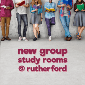 Bookable group study rooms are available at Rutherford Library