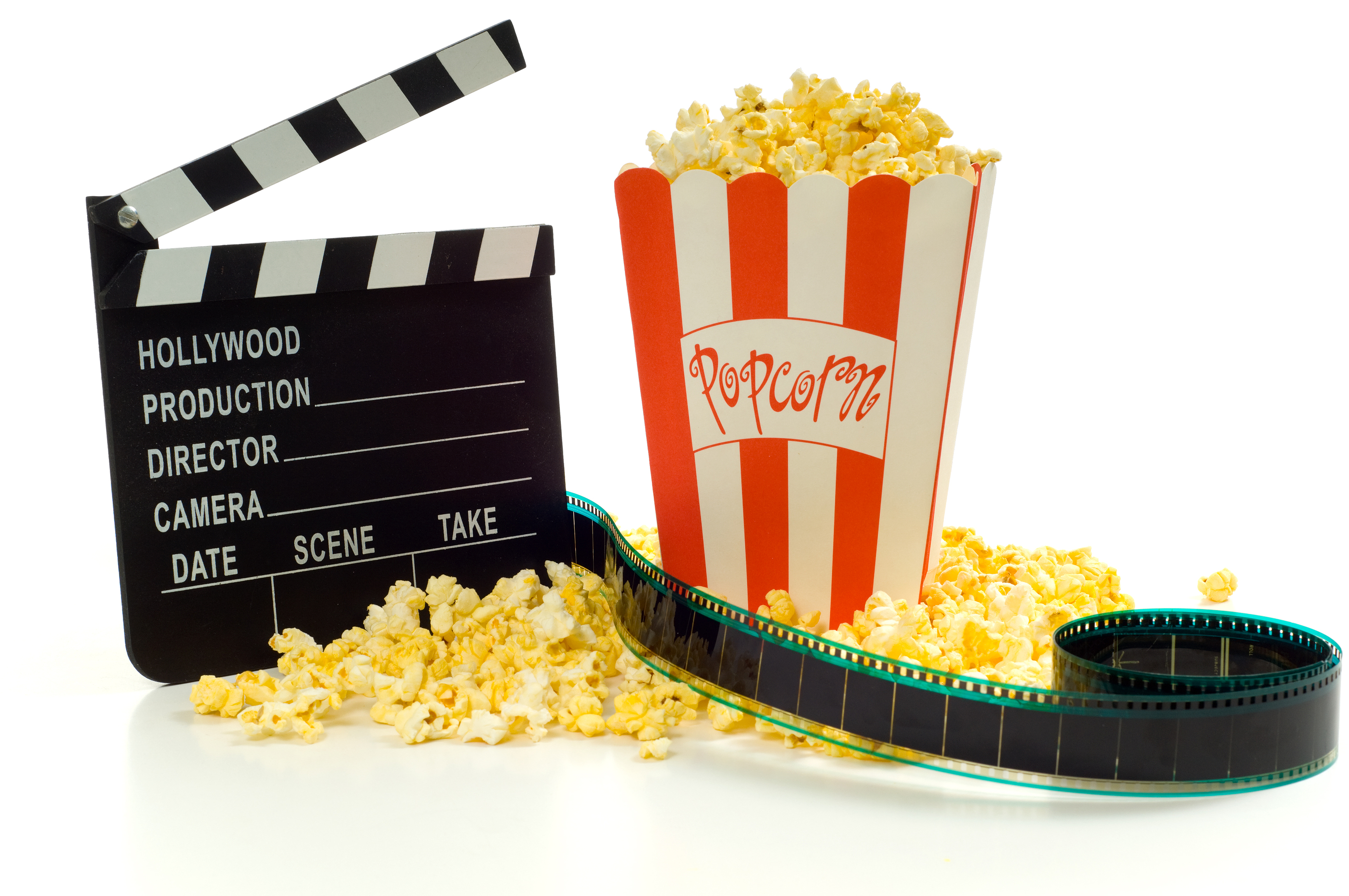 Movie and entertainment industry items, including a box of popcorn a movie clapboard and a strip of 35mm film