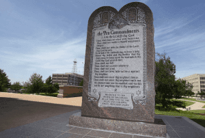 The Oklahoma 10 Commandments monument that was located from the state capitol