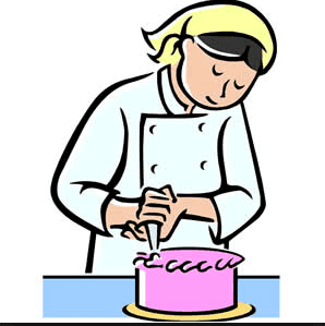 A person decorating a cake.