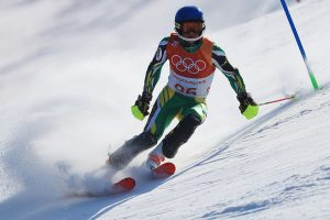 This is a picture of Connor Wilson, a first-year student at UVM, alpine skiing.