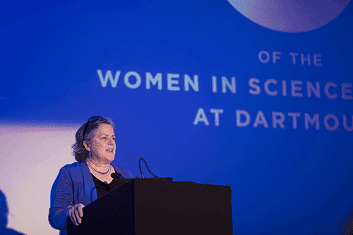 picture of woman telling a speech at a women in science event