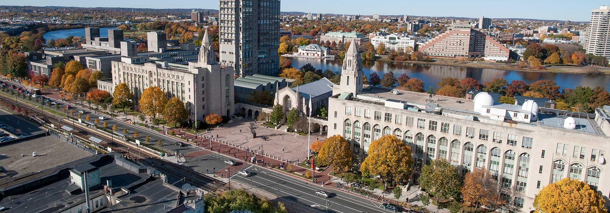 An aerial view of Boston University