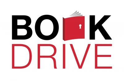 Book drive graphic logo