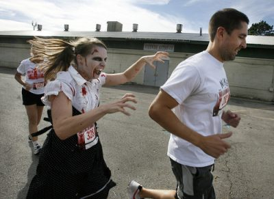 Zombie runner after a human