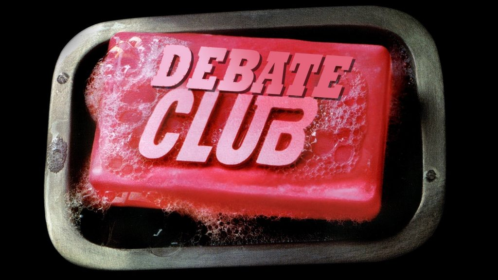 debate club logo in red