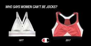 This picture shows the original jogbra on the left and the current sports bra on the right.