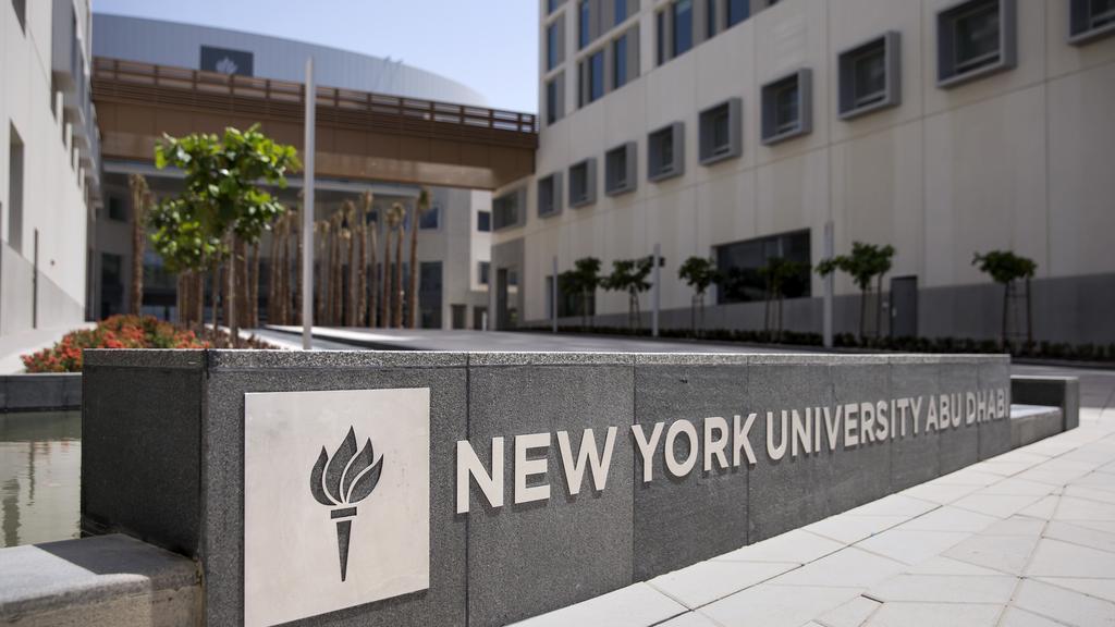 The main sign at the front of NYU