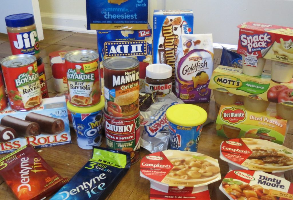 An array of canned foods