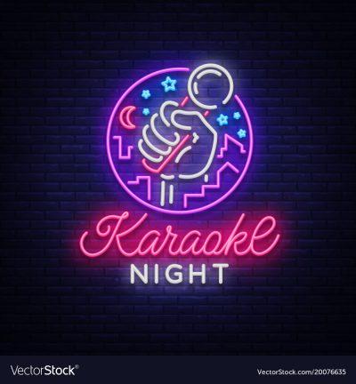 Karaoke night neon sign