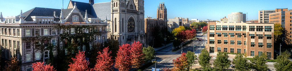 A panorama view of Marquette University