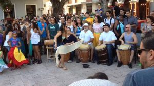 Dancers and musicians in the streets of Puerto Rico.