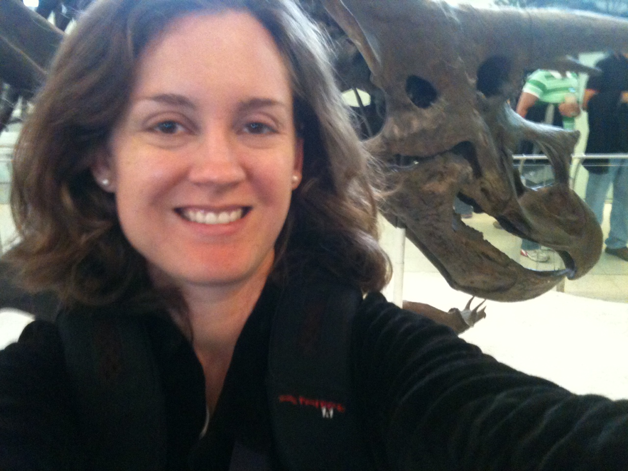 This image shows Professor Stovall with a dinosaur!