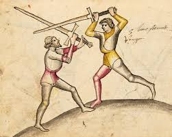 An illustration of two people swordfighting
