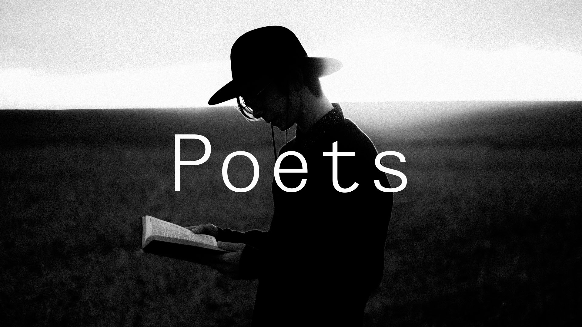 lack and white picture of a man with Poets written on top