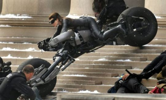 Catwoman Hathaway filming at the Carnegie Mellon University