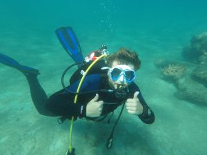 A member of the scuba club on a dive