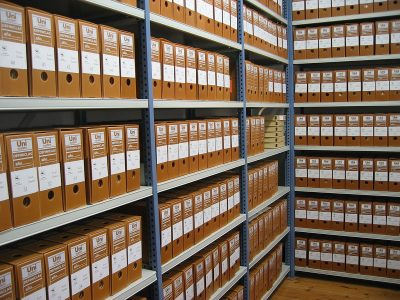 Shelves of archive records