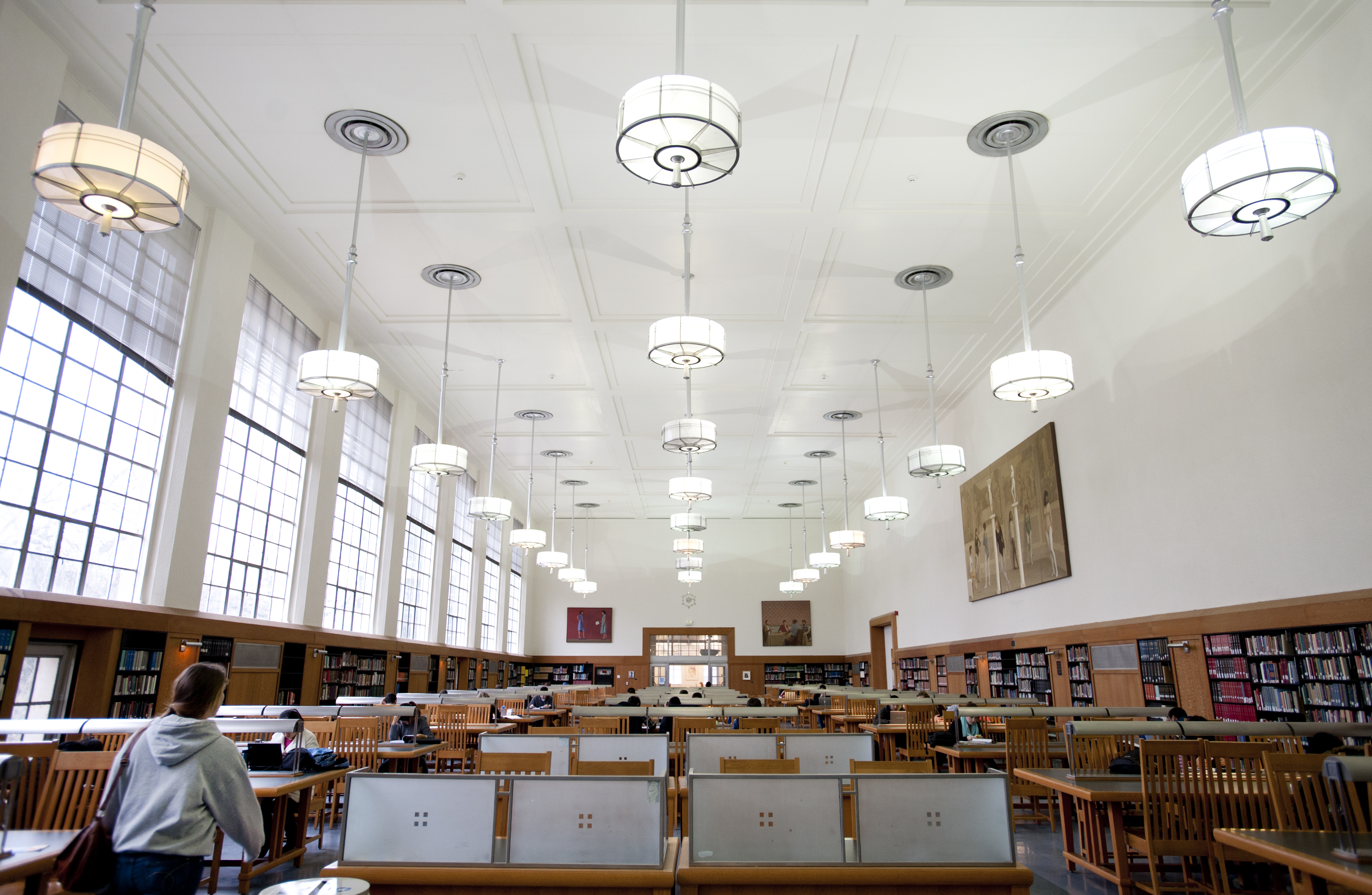 Students study in the Main Reading Room at Shields Library at UC Davis