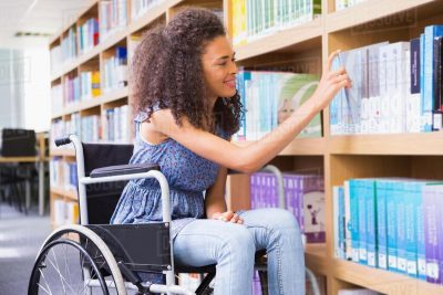 Female student in a wheelchair