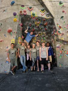 Climbing club members at a competition