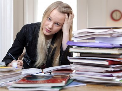 Female student worrying about homework