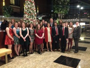 Students dressed up for the Christmas Ball
