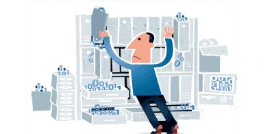 Man managing his data