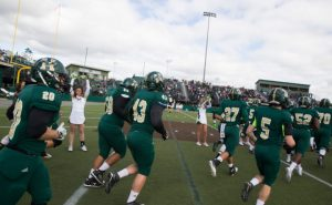 Hudson football team taking the field