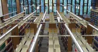 Overhead view of their book shelves