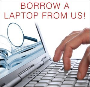 laptop with a magnifying glass on the screen