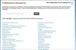 E-References search page