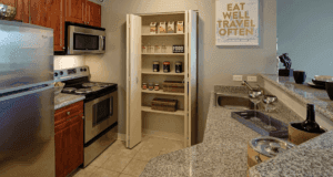 This is a kitchen inside one of the units here