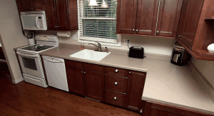 A kitchen inside one of the units