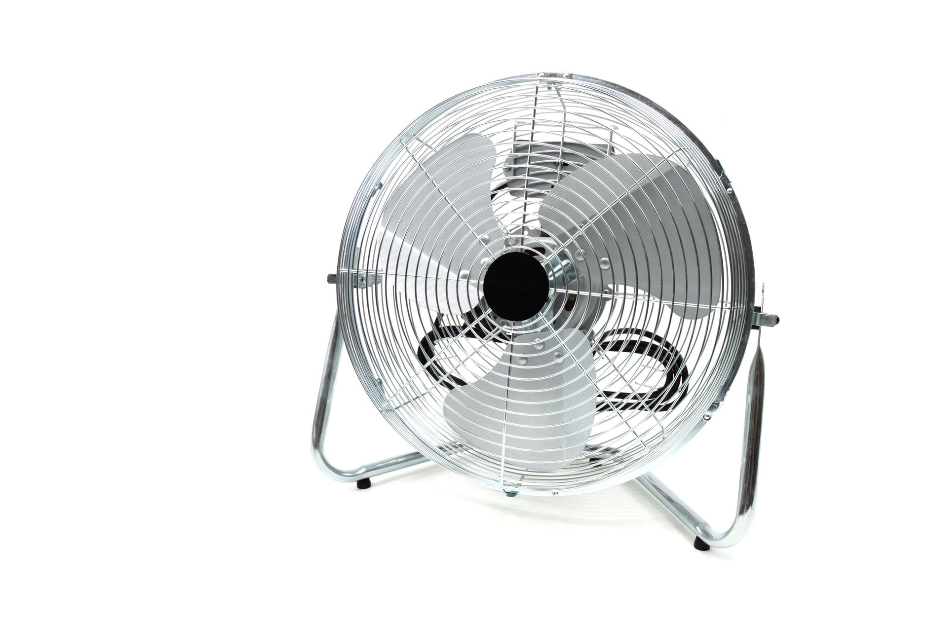 a large metal floor fan