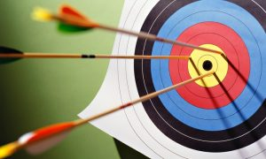 an archery target with bows in it