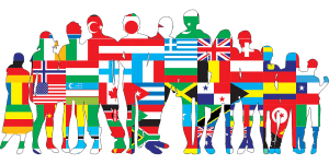 People representing flags of various countries around the world