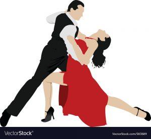 cartoon depicting two people dancing