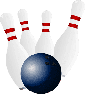 4 Bowling pins being struck by a bowling ball