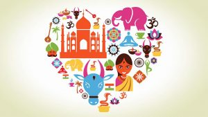 A heart made of different cultural symbols (elephants, food, plants, music instruments)