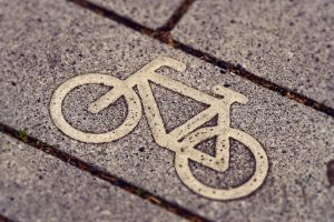 A bike symbol on the ground