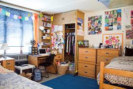 an overview of a dorm room setting